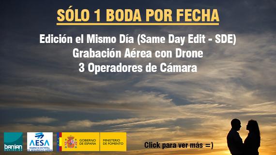 Vídeo edición en el mismo día y grabación aérea con drone para bodas en Cádiz, Sevilla, Córdoba, Granada... Same Day Edit (SDE) Aerial Video